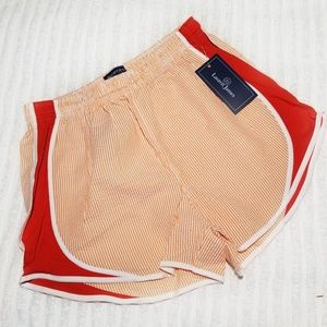 NWT Lauren James Seersucker Shorties Orange Large